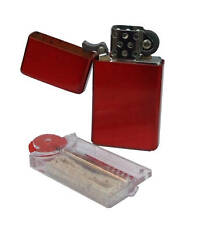 More details for personalised slim red petrol lighter with free flints & wick dispenser