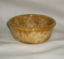 "ANTIQUE PRIMITIVE EARTHENWARE SPONGEWARE RUST & YELLOW 5"" MIXING OR CEREAL BOWL"