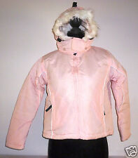 Girl's  Embargo Hooded Jacket -Pink with White Faux Fur Trim- Age 13 Years- NEW