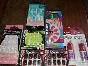 Lot of 10 SETS - LA Colors Glam Fashion Nails Artificial Fake Nails Pink Blue