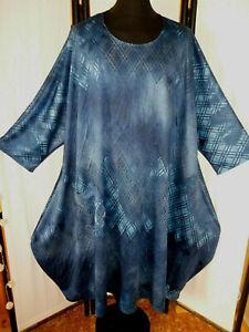 BALLON-KLEID mit Tasche Übergröße Blautöne extravaganter Style 66 +  XXXXXL