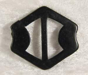 shaped plastic belt buckle 1.5 inches across in black vintage no 6