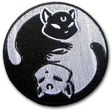 Yin Yang Cats Patch Embroidered Iron on Badge Sew Biker Kitty Black & White Ohm