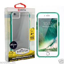 Genuine Griffin Survivor Clear Case Cover for iPhone 7, iPhone 8 Green/Clear NEW