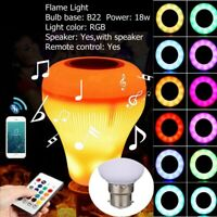 18W B22 E27 LED RGB Wireless Bluetooth Music Play Speaker Bulb Light Flame Lamp