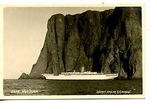 Nordkapp Norway-Large Ship-Cliff Landmark-RPPC-Vintage Real Photo Postcard