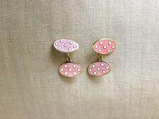 Vintage 1940s 18K Birmingham Oval Pink+White Polka Dot Cufflinks Unisex 8.46g