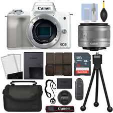 Canon EOS M50 Mirrorless Digital Camera with 15-45mm STM Lens White + 16GB Kit