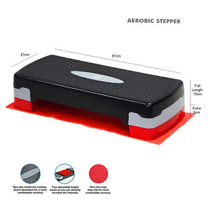 2 LEVEL ADJUSTABLE AEROBIC YOGA FITNESS STEP WITH MAT + GYM EXERCISE GUIDE CHART