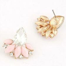 Ladies Women  Fashion OL Temperament Shining Gem Leaves Earrings Pink Wonderful
