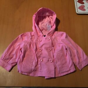 Girls Baby Gap Pink Coat Button Up Casual Summer Jacket Size 6-12 Months B3