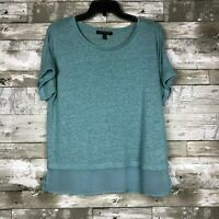 Women's Banana Republic Linen Blend Overlay Blouse sz M petite blue short sleeve