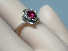 .60ct 5mm red ruby antique 925 sterling silver flower ring size 6 USA made