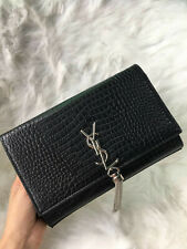 YSL Saint Laurent Kate Tassel Clutch in Embossed Crocodile Shiny Leather Handbag