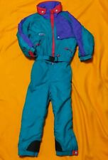 Vintage columbia ski suit youth Small 7-8 One Piece Teal Purple Boys Girls