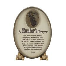 A Hunter's Prayer Oval Shaped Brown 6 x 3.5 Resin Stone Table Top Sign Plaque