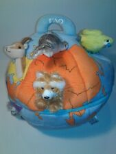 """F A O TOYS-R -US 13""""PLUSH ZIPPER GLOBE WITH 7 ANIMALS MARKING CONTINENTS. RARE"""