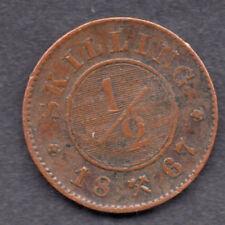 Norway. 1867. 1/2 Skilling coin Swedish King Carl XV