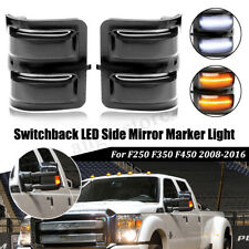 2x Switchback Amber White Side Mirrors LED Light For Ford F250 F350 F450 2008-16