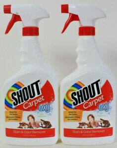 2 Bottles Shout Carpet 32 Oz Oxy Fresh Scent Great For Pet Stain & Odor Remover