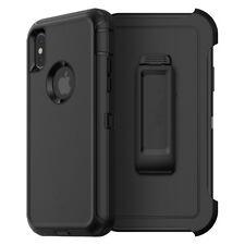 For Apple iPhone XR Defender Case Cover (Belt Clip Fits Otterbox) BLACK