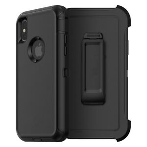 For Apple iPhone XR Defender Case Cover (Belt Clip Fits Otterbox) BLACK