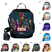 Roblox Insulated Lunch Bag Kids Girls box Picnic School Food Packed Shoulders