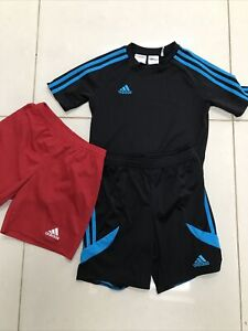 Boys Adidas Black/blue Shorts And T Shirt +Red Shorts Size YM 9-10 Years 140cm