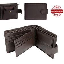 RFID BLOCKING Mens Mans Leather Wallet 6 Credit Card Coin Pocket Wallets Brown
