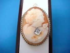 14K GOLD LARGE ANTIQUE CAMEO WITH LARGE OLD MINE DIAMOND, 13.2 GRAMS, 50 x 38 MM
