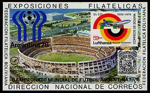 BOLIVIA, MICHEL # BLK79 MINI SHEET OF SOCCER WORLD CHAMPIONSHIP ARGENTINA '78