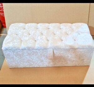 OTTOMAN STORAGE BOX Stool Footstool Seat Stool Toy Box Soft Top Modern LUXURY