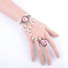 WHITE Lace Bracelet+Ring (Rose+ Pearl) Vintage dress Wedding Necklace/ Choker