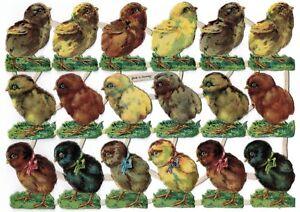 Oblaten Bogen geprägt 18 Küken Ostern Frühling - DIE CUT SCRAPS