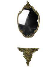 Ornate Wall Mounted Console Mirror  Hollywood Regency Gold Gilded Doré Resin