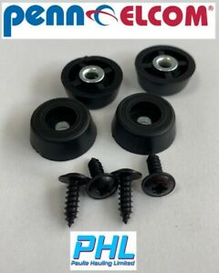 4 x Non Marking Tapered Rubber Feet 21.7mm x 8.3mm c/w Steel Washers & Screws