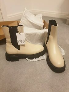 Zara Flat Leather Ankle Boots With Track Sole Size 5