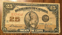1923 DOMINION OF CANADA PAPER MONEY 25 CENTS 1923 PAPER BILL