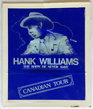 Hank Williams: The Show He Never Gave MOVIE POSTER Canadian Tour 1980 Promotion
