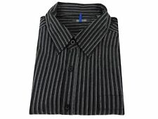 Kenneth Cole Reaction Cotton Dress Shirt Reg. Fit Charcoal Gray Black Striped XL