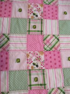 "Collectible John Deere Baby Quilt Pink Green 40""X 41"""
