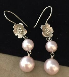 Vintage Jewellery Sterling Silver And Pearl Drop Pendant Floral Earrings