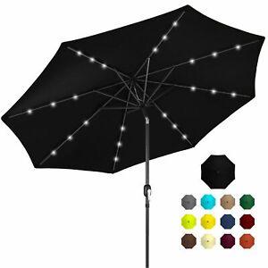 10Ft Solar Powered Led Lighted Patio Umbrella W/ Tilt Adjustment Multiple Colors