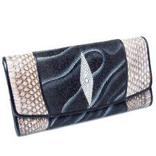 Hot Genuine Stingray & Python Leather Kanthima ExoticTrifold Wallet Clutch Purse