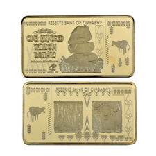 One Hundred Trillion Dollar Zimbabwe 24k Gold Banknote Gold Bar Collectible