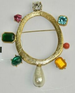 NEW Oscar de la Renta LARGE Oval Brooch Gold Jeweled Pin w Pearl
