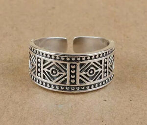 925 Sterling Silver Adjustable Ring, Tribal Vintage Open Ring, Boho Thumb Ring