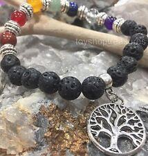 Aromatherapy diffuser Essential Oil Lava & Gemstone Chakra Bracelet Tree of Life