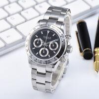 39mm Parnis Sapphire Men Quartz Chronograph Watch Black Dial Stainless Bracelet