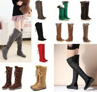 Winter Women Warm Over the Knee Thigh High Lace Up Long Boots Flat Heels Shoes